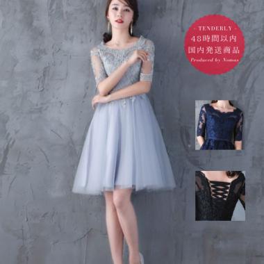 【即納】結婚式や謝恩会におすすめ レースが美しい膝丈半袖ドレス