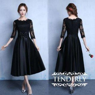 【即納】結婚式や謝恩会にオススメ 大人可愛いミモレ丈の黒ドレス