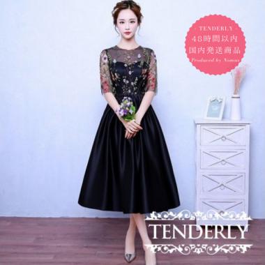 【即納】結婚式や謝恩会にオススメ 花柄刺繍の切り替えミモレ丈 黒ドレスワンピース