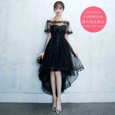 【即納】ロングフィッシュテールのパーティー黒ドレス