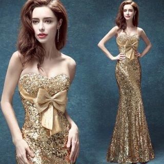 ゴールドスパンコールとビジューがゴージャスなロングマーメイドドレス
