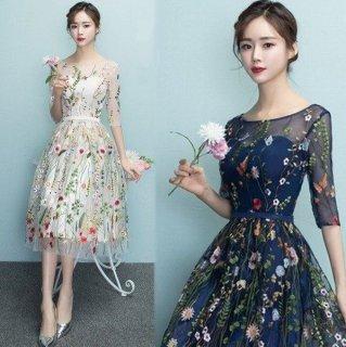 大人気シースルーフラワー刺繍  ミモレ丈ドレス