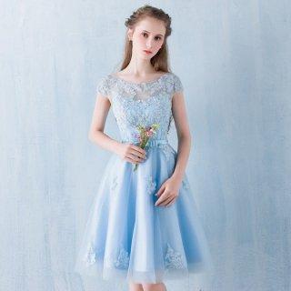 発表会におすすめ レースが可愛い水色ドレス