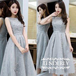 【即納】結婚式や謝恩会にピッタリなミモレ丈ノースリーブ ドレス ワンピース