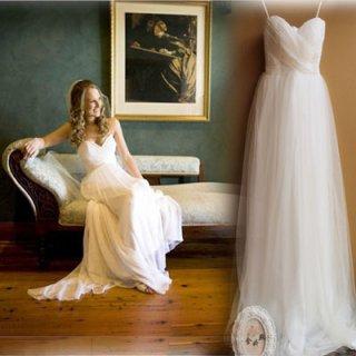 自分らしくアレンジOK シンプルなエンパイアウェディングドレス/前撮り後撮り