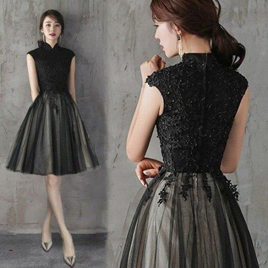 【即納】結婚式や謝恩会におすすめ 黒レースビーズ刺繍の膝丈ドレス , 韓国プチプラパーティードレス通販『TENDERLY DRESS』