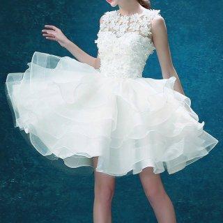 二次会やステージのお衣装に ハッピー&キュートなミニウェディングドレス/前撮り後撮り