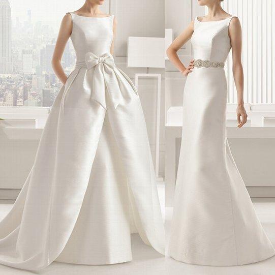 二次会にうれしい2way シンプルな背中あきウェディングドレス 前撮り