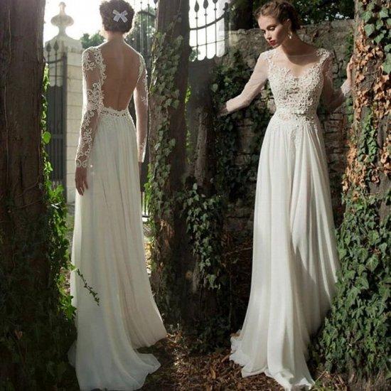 前撮りにも 長袖スレンダーラインの背中あきウェディングドレス/前撮り後撮り , 韓国プチプラパーティードレス通販『TENDERLY DRESS』