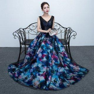 大人フラワープリントのバックコンシャスロングドレス