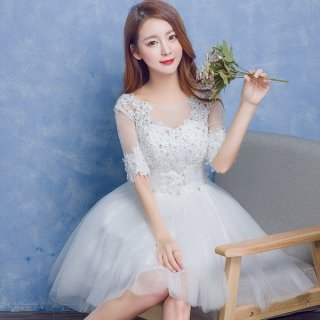 新婦さまの二次会に お花モチーフがかわいいミニドレス/前撮り後撮り