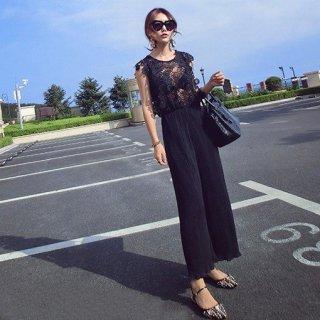 【即納】同性ウケアイテム 黒花レースの細プリーツオールインワン パンツドレス