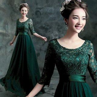 美しい大人グリーンの七分袖ロングドレス