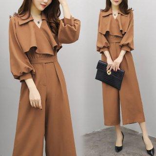 クール&フェミニン ブラウンカラーのオールインワン パンツドレス