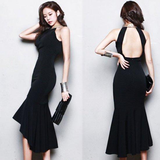 艶っぽ背中あき マーメイドフィッシュテールセクシーワンピース , 韓国プチプラパーティードレス通販『TENDERLY DRESS』