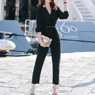 着まわしアイテム 黒Vネックパンツドレス オールインワン
