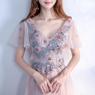 フラワービーズ刺繍の Vネック半袖ロングドレス