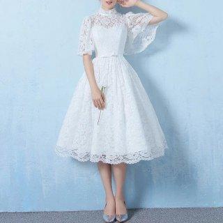 花嫁さまの二次会に シースルーレースケープ袖ドレス