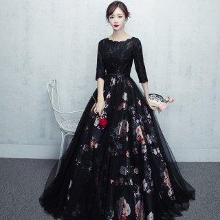 大人可愛い 透かしフラワープリントのブラックロングドレス