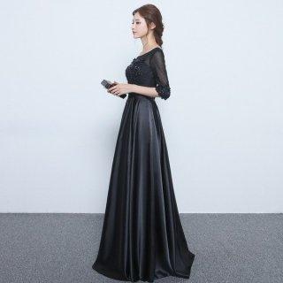 シックなスパンコールづかい 七分袖ブラックロングドレス