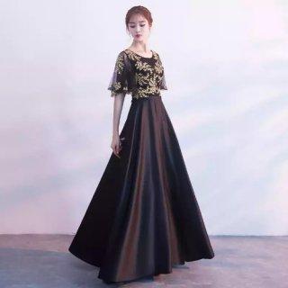 発表会や演奏会に 気品漂うゴールド刺繍 ケープライクなマキシ丈ドレス