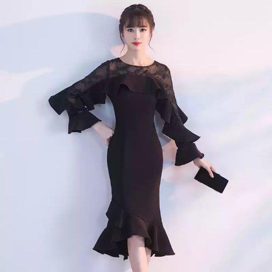 3285e58617139 結婚式やパーティーに ラッフルフリルがエレガントな目立てる黒ワンピース - 韓国プチプラパーティードレス通販『TENDERLY DRESS』