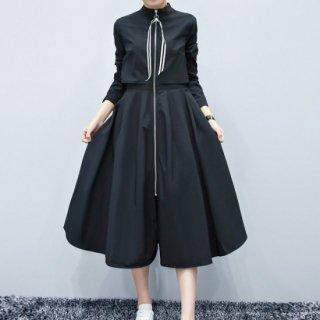 【即納】モードなミモレ丈の黒ワンピースコート