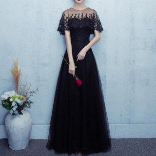 【即納】刺繍レースが可憐なAライン フルレングスロングドレス/Lサイズ
