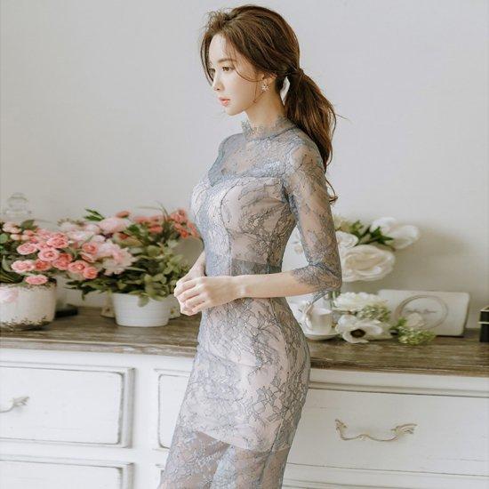 b4189030f8d12  即納 透け感セクシーな花柄刺繍総レースがエレガントなタイトワンピース - 韓国プチプラパーティードレス通販『TENDERLY DRESS』