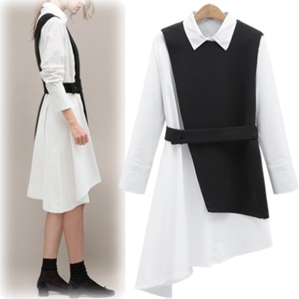 【即納】アシンメトリーデザインの長袖白シャツワンピース