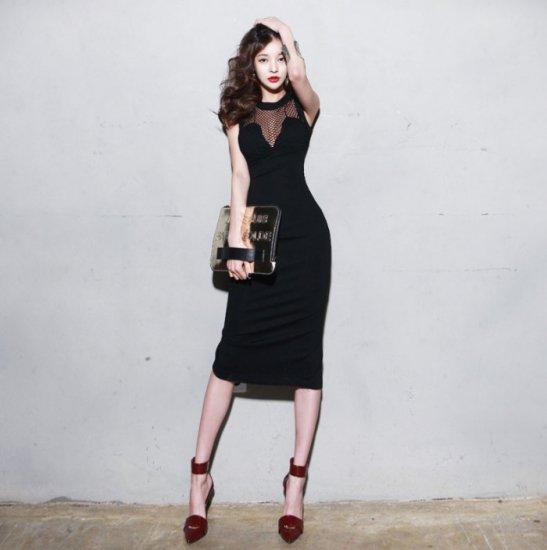 【即納】セクシーな胸元メッシュ ブラックタイトワンピース