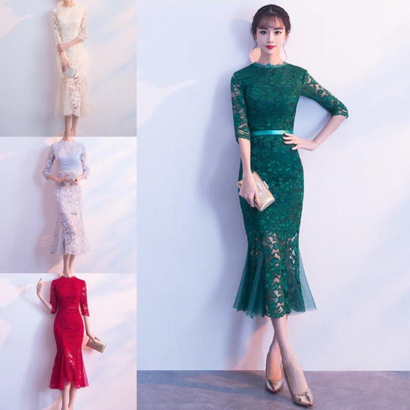 b83b12bb261e4 結婚式やお呼ばれに ドレッシーな総レース 七分袖マーメードラインワンピース - 韓国プチプラパーティードレス通販『TENDERLY DRESS』