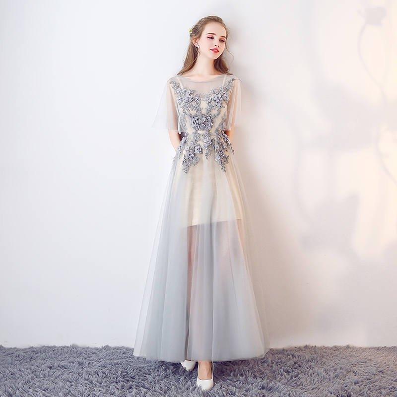 9342aa6abeef4 透明感溢れるエアリーチュールスリーブのロングドレス - 韓国プチプラパーティードレス通販『TENDERLY DRESS』