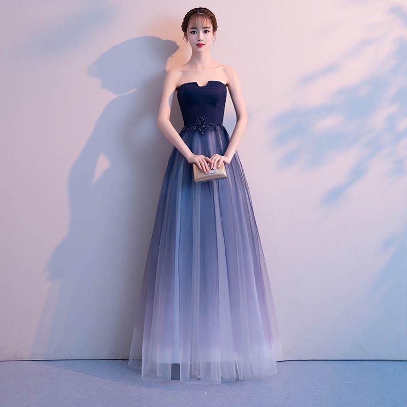 999bc805be50a 演奏会やお色直しに エレガントなネイビーのベアトップロングドレス - 韓国プチプラパーティードレス通販『TENDERLY DRESS』