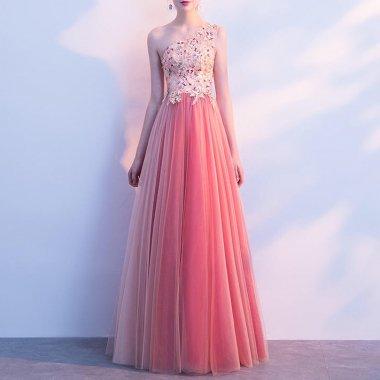演奏会やお色直しに スイートなフラワー刺繍のワンショルダーロングドレス