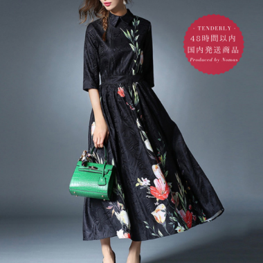 【即納】大人ブラック襟付き花柄ロングワンピース