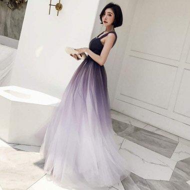 気品漂うラベンダー系グラデーション 2Wayマキシ丈ドレス