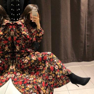 レトロガーリーな花柄がおしゃれなウエストペプラムのゆったり長袖ワンピース 3色