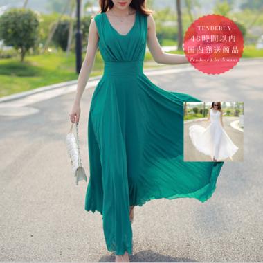 【即納】ノースリーブシフォンマキシ サマードレス ワンピース 白/緑/黒