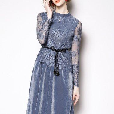結婚式からデートまで 繊細な花柄レースがオトナかわいい長袖ワンピース ドレス