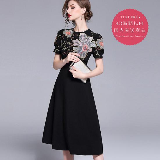 【即納】オリエンタルな花柄刺繍 バルーンスリーブ半袖ワンピース
