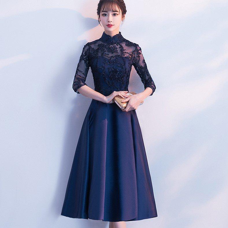 透け感シースルーが大人フェミニンな異素材MIXの袖ありAラインドレス