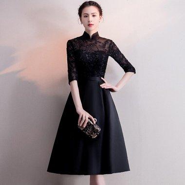 お呼ばれや発表会に スタンドカラーで清楚可愛いAラインの袖ありブラックドレス