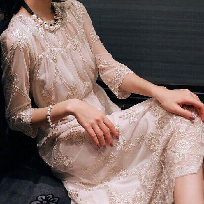お呼ばれからデートまで 透け感シフォンの花柄刺繍がオトナかわいい袖ありワンピース
