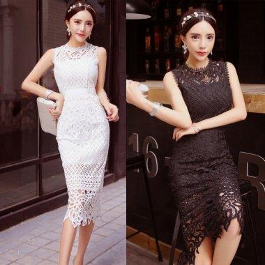 透かし彫りの総レースが華やかなノースリーブのカジュアルタイトドレス ワンピース 2色