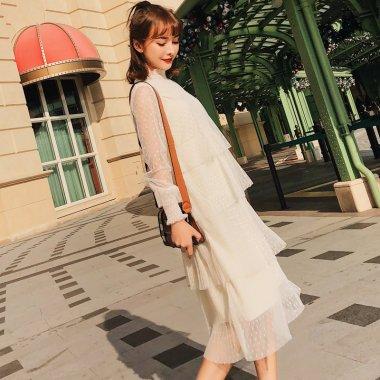 透け感シフォンのドット柄がガーリーな長袖ティアードワンピース 3色