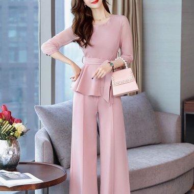 お呼ばれにおすすめ ウエストリボンとシースルー袖が大人かわいいペプラムパンツドレス セットアップ 3色