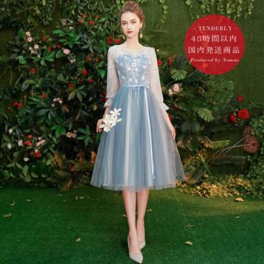 【即納】結婚式やブライズメイドに フェアリーなチュールシフォン 長袖ミモレ丈ドレス