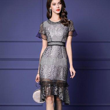 結婚式や二次会に 刺繍総レースがエレガントな異素材MIXの華やぎドレス 2色
