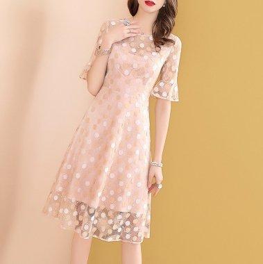 デートやお呼ばれに ドット柄の総レースがかわいい膝丈袖ありワンピース ドレス